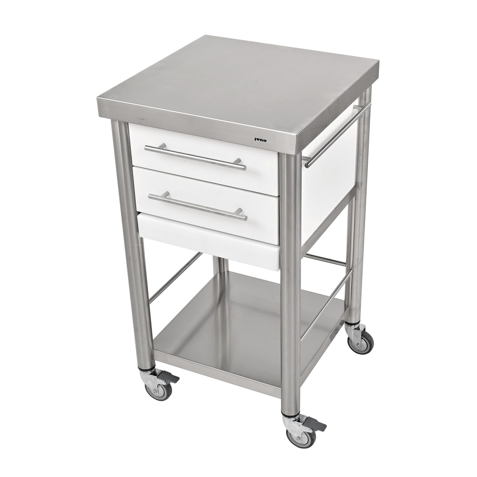 Küchenwagen Corian weiss 2 Schubladen 50 x 50