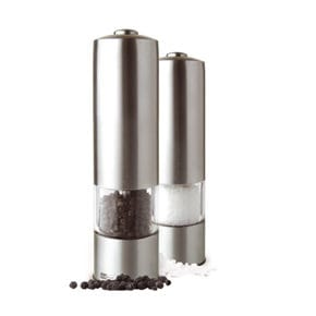 Electric pepper or salt mill, with light